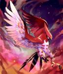 ambiguous_gender avian bakawasima beak bird claws cloud dusk feathered_wings feathers feral fire nintendo open_mouth outside pokémon solo talonflame talons toe_claws tongue tongue_out video_games wings