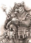 2013 bubblewolf clothed clothing ear_piercing eye_patch eyewear feline fur half-dressed male mammal piercing smoking solo tiger topless whiskers  Rating: Safe Score: 0 User: remigius Date: October 05, 2015