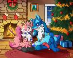 2015 alternate_color animal_genitalia anthro blue_eyes blue_fur blush braixen breasts canine_penis chest_tuft christmas christmas_tree drink duo erection eye_contact fan_character female fireplace flower fluffy fluffycatherine foxyfur26 front_view fur holidays inside kneeling knot lucario male male/female nintendo one_eye_closed penis pink_eyes pink_fur plant pokémon precum rikuaoshi rug sitting smile tree tuft video_games white_fur wink   Rating: Explicit  Score: 16  User: Jugofthat  Date: January 18, 2015