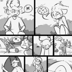 1:1 anthro antlers argument arm_support blush bodily_fluids bovid brother campfire caprine cervid comic dialogue digital_drawing_(artwork) digital_media_(artwork) domestic_sheep embarrassed female greyscale group horn lagomorph leaning_on_elbow leporid log male mammal monochrome naughty_face nodding pillow rabbit sheep sibling sister sitting slypon suggestive sweat sweatdrop tent wood