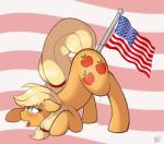 applejack_(mlp) ass_up blonde_hair blush cutie_mark digital_media_(artwork) dripping equine female feral flag freckles friendship_is_magic fur green_eyes hair horse insertion mammal murrica my_little_pony open_mouth orange_fur penetration pony pussy_juice raised_tail ratofdrawn saliva shaded side_view solo stars_and_stripes tongue united_states_of_america   Rating: Explicit  Score: 31  User: Jatix  Date: July 04, 2014