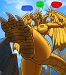 2_tails 3_heads 4_toes angry anthro big_butt big_feet building butt city cloud crossgender dialogue dragon english_text female fire_hydrant foot_focus godzilla_(series) happy impending_doom king_ghidorah low-angle_shot macro membranous_wings multi_head multiple_tails nipples red_eyes sad scalie sky solo stomping text toes wings worm's-eye_view zp92   Rating: Questionable  Score: 17  User: zp92  Date: April 03, 2015