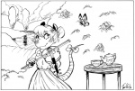 anthro arthropod bow butterfly classy clothed clothing dress female flower flower_in_hair fully_clothed hair hair_bun insect jamil_(artist) lake looking_at_viewer mammal marsupial maude_o'dell monochrome musical_instrument opossum outside plant playing_music ribbons saucer smile solo teapot the_tale_of_jasper_gold tree viola_(instrument)Rating: SafeScore: 0User: OccamDate: December 06, 2016