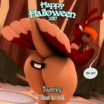2017 3d_(artwork) abigail_roo anthro anthroanim big_butt butt clothed clothing costume dialogue digital_media_(artwork) english_text female halloween hi_res holidays huge_butt hyper kangaroo looking_at_viewer mammal marsupial miitopia smile solo speech_bubble text thick_thighs twerkey wide_hips