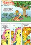 333456 anthro anthrofied apple applejack_(mlp) blush clothed clothing comic dialogue duo earth_pony english_text equine female fluttershy_(mlp) friendship_is_magic fruit hi_res hoof_beat horse mammal my_little_pony pegasus pony text wings   Rating: Safe  Score: 5  User: parasprite  Date: April 25, 2015