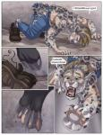 2014 blonde_hair clothed clothing comic digitigrade english_text feline hair half-dressed human leopard male mammal sabretoothed_ermine snow_leopard text topless torn_clothing transformation   Rating: Safe  Score: 2  User: Arkham_Horror  Date: May 25, 2015