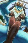 2020 abs anthro anthrofied balls between_legs biceps black_sclera blue_body blue_eyes blue_scales body_hair butt capcom chest_hair dragon erection fanged_wyvern foreskin fur genitals group hi_res horn humanoid_genitalia humanoid_penis hybrid lionkinen looking_at_viewer low-angle_view male male/male mammal mane monster_hunter muscular muscular_male navel nipples nude open_mouth pecs penis perineum pubes quads scales solo_focus spikes standing triceps uncut vein veiny_penis video_games zinogre