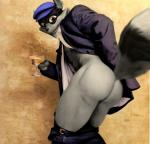 alcohol anthro belt bent_over beverage big_butt big_thighs butt clothed clothing drink edit fur grey_fur hat looking_at_viewer male mammal oystercatcher7 pants pants_down photo_manipulation photomorph presenting presenting_hindquarters procyon raccoon sly_cooper sly_cooper_(series) solo standing suit undressing   Rating: Questionable  Score: 8  User: oystercatcher23  Date: March 18, 2015