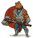 bear clothing hammer male mammal simple_background solo tools tribal_outfit weapon wide_hips wildroxann  Rating: Safe Score: 0 User: SkokiaanFox Date: August 03, 2015
