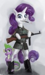 anthro blue_eyes boots cigarette cigarette_holder dragon duo equine female feral friendship_is_magic gun hair heretic14 horn male mammal mp41 my_little_pony nazi purple_hair ranged_weapon rarity_(mlp) shadow smoking spike_(mlp) submachine_gun unicorn uniform weapon   Rating: Safe  Score: 9  User: Kholchev  Date: May 31, 2012
