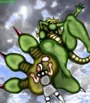 2002 anthro anus armor blonde_hair blood breasts claws clothed clothing digital_media_(artwork) dragon duo english_text feet female foot_focus green_scales hair human mammal markie nipples nude outside pussy red_nipples scalie size_difference text toe_claws weapon   Rating: Explicit  Score: -5  User: GameManiac  Date: March 30, 2015
