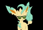 alpha_channel ambiguous_gender datsato digital_media_(artwork) eeveelution eyewear feral leafeon looking_at_viewer nintendo pokémon pokémon_(species) simple_background smile solo sunglasses transparent_background video_games