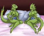 2009 anthro areola arm_support bed big_breasts blue_eyes breasts crovirus duo female furry-specific_piercing grin jewelry looking_at_viewer nintendo nipple_piercing nipples nude on_bed piercing pillow pokémon pokémorph red_eyes scalie sibling sisters sitting smile tail_ring twins tyranitar video_games  Rating: Questionable Score: 17 User: Blind_Guardian Date: October 10, 2015