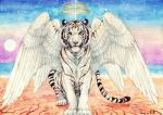 black_stripes blue_eyes feathered_wings feathers feline feral fur hybrid looking_at_viewer mammal paws pink_nose rykhers sitting solo striped_fur stripes tiger traditional_media_(artwork) white_feathers white_fur wings