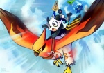 ambiguous_gender avian beak bird bronzor cloud cloudscape digital_media_(artwork) feathered_wings feathers feral flying group hat haychel honedge nintendo outside pancham pokémon sky talonflame video_games wings