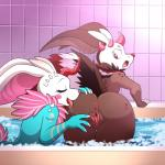 2015 anus bath bent_over blue_fur brown_fur bubble butt clitoris detailed_background digital_media_(artwork) duo eyebrows eyelashes female female/female flossy fur gaping gaping_pussy hi_res horn licking lonbluewolf looking_back looking_down multicolored_fur nails open_mouth pussy raised_tail saliva smile spread_pussy spreading tongue tongue_out unknown_species water white_fur white_sclera  Rating: Explicit Score: 52 User: Saimon Date: September 30, 2015