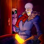 2016 animated_skeleton bed bedroom being_watched bioluminescence blush bone clothed clothing duo fontcest glowing glowing_penis hi_res lizherubones male papyrus_(undertale) penis sans_(undertale) skeleton undead undertale video_games  Rating: Explicit Score: 2 User: Fontcest Date: May 03, 2016