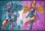 2015 anthro anthrofied armwear belt big_breasts blonde_hair blue_eyes blue_feathers blue_fur blue_hair breasts butt cleavage clothed clothing cutie_mark duo ear_piercing equine eyewear female fluttershy_(mlp) friendship_is_magic fur gem green_fur green_hair hair hi_res legwear long_hair looking_at_viewer looking_back makeup mammal multicolored_fur multicolored_hair my_little_pony orange_fur orange_hair pegasus piercing pink_fur pink_hair purple_eyes purple_fur purple_hair rainbow_dash_(mlp) raptor007 rear_view red_fur red_hair side_boob skimpy sunglasses wings yellow_feathers yellow_fur   Rating: Safe  Score: 7  User: GameManiac  Date: May 13, 2015