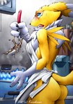 anthro apron blue_eyes blush breasts butt canine chest_tuft cooking cooking_fail digimon doing_it_wrong facial_markings female fire fox fur hi_res karabiner kitchen mammal markings naked_apron nude open_mouth renamon sauce shocked solo spill sweat tongue tongue_out tuft worried yellow_fur yikes   Rating: Questionable  Score: 16  User: Anomynous  Date: February 28, 2007
