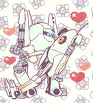 <3 antennae_(anatomy) atlas_(portal_2) blue_eyes digital_media_(artwork) duo eye_contact full-length_portrait hand_holding looking_at_another machine not_furry orange_eyes p-body pattern_background portal_(series) portrait robot simple_background standing valve video_games white_body ziroro326