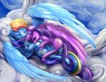 2015 cutie_mark duo equine eyes_closed female female/female feral friendship_is_magic hair hi_res hooves horn long_hair lying mammal multicolored_hair my_little_pony on_back outside pegasus rainbow_dash_(mlp) rainbow_hair sleeping twilight_sparkle_(mlp) viwrastupr winged_unicorn wings   Rating: Safe  Score: 13  User: lemongrab  Date: May 26, 2015