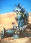2019 absurd_res anthro armor biceps blue_body blue_eyes blue_fur bodily_fluids bottomwear canid canine canis claws clothed clothing colored detailed_background digital_media_(artwork) erection fur genital_fluids genitals handwear hi_res humanoid_genitalia humanoid_penis looking_at_viewer male mammal masturbation muscular muscular_anthro muscular_male paladins pants penile penile_masturbation penis precum shaded sharp_teeth sitting solo teeth todex viktor_(paladins) were werecanid werecanine werewolf white_body white_fur wolf