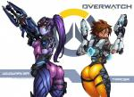 armor blue_skin bodysuit brown_hair butt clothing darkereve digital_media_(artwork) dual_wielding duo ear_piercing eyewear female goggles gun hair headgear hi_res holding_object holding_weapon jacket not_furry overwatch piercing ponytail purple_hair ranged_weapon rifle short_hair skinsuit standing tight_clothing tracer_(character) weapon widowmaker yellow_eyes  Rating: Questionable Score: 38 User: h4x0r Date: December 08, 2014