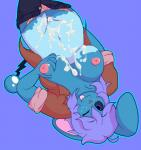 2016 anthro azumarill bed big_breasts big_ears breasts brianna_(appledees) clothed clothing cottoncanyon cum cum_on_breasts cum_on_stomach fan_character female hair hi_res looking_at_viewer lying mammal nintendo nipples on_bed panties pants pokémon purple_hair pussy smile solo tongue tongue_out underwear video_games