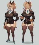 2018 4_fingers antelope anthro bangs big_breasts biped black_clothing black_horn black_topwear blue_claws blue_clothing blue_footwear blue_shoes breasts brown_fur brown_hair claws cleavage clothed clothing digital_media_(artwork) female footwear front_view frown fur garter_belt garter_straps gazelle grey_background hair hi_res high_heels holding_object holding_whip horn huge_breasts kemono legwear mammal model_sheet multicolored_fur necktie pantyhose ricosye riding_crop shoes simple_background solo standing stockings tan_fur thick_thighs two_tone_fur whip wide_hipsRating: SafeScore: 49User: Cash_BanoocaDate: January 22, 2018