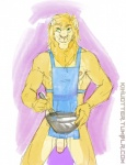 2014 anthro apron balls bowl feline flaccid fur green_eyes humanoid_penis jude kihu lion looking_at_viewer male mammal mane muscular muscular_male naked_apron nipples nude penis smile solo standing uncut url whisk yellow_fur  Rating: Explicit Score: 2 User: Jekjekje Date: October 02, 2015