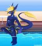 anthro aquatic_dragon blush clothing dragon fin ladon male markings penis pool scalie shorts solo tail_fin warden006   Rating: Explicit  Score: 0  User: Ladon_Dragon  Date: May 24, 2015