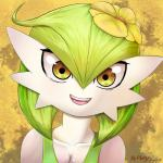 2015 breasts cleavage clothed clothing eyelashes female flower gardevoir green_hair hair masterploxy nintendo open_mouth orange_eyes plant pokémon pokémorph signature smile solo video_games  Rating: Safe Score: 21 User: ROTHY Date: January 08, 2016