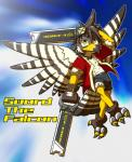 anthro avian beak bird bulge clothed clothing cub dual_wielding english_text falcon flying gloves hi_res holding_object holding_weapon looking_at_viewer male melee_weapon nakayan open_shirt pinup pose shorts smile sword sword_the_falcon text tight_clothing weapon young  Rating: Safe Score: 0 User: Circeus Date: May 01, 2016