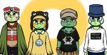 2017 anthro blue_eyes bracelet chipped_shell clothed clothing cosplay crossover donatello_(tmnt) english_text eyewear face_paint freckles goggles goggles_on_head green_eyes group hat inkyfrog jewelry leonardo_(tmnt) looking_at_viewer male michelangelo_(tmnt) necklace raphael_(tmnt) red_eyes reptile scalie shell standing teenage_mutant_ninja_turtles text turtle vocaloidRating: SafeScore: 1User: JAKXXX3Date: November 23, 2017