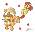 amber_eyes apple apple_bloom_(mlp) applejack_(mlp) blonde_hair cub duo equine female feral friendship_is_magic fruit green_eyes hair happy horse mammal my_little_pony pony red_hair sibling sisters smile young zicygomar  Rating: Safe Score: 5 User: Robinebra Date: March 13, 2012""