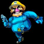 alpha_channel clothed clothing crossdressing crossover facial_hair footwear gun handgun hat high_heels holding_object holding_weapon human humor male mammal mario_bros metroid mustache nintendo not_furry obese overweight pistol ranged_weapon shoes simple_background solo transparent_background video_games wario weapon what what_has_science_done xyrafhoan zero_suit