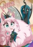 2015 blue_eyes changeling cute dennybutt duo english_text equine fan_character fangs female feral fluffle_puff friendship_is_magic fur green_eyes horn horse mammal my_little_pony pink_fur plushie pony queen_chrysalis_(mlp) text tongue tongue_out wings  Rating: Safe Score: 29 User: Robinebra Date: July 14, 2015