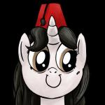 alpha_channel ambiguous_gender black_hair brown_eyes digital_media_(artwork) equine fan_character fez fur grey_fur hair hi_res horn mammal my_little_pony portrait simple_background smile smudge_proof solo transparent_background unicorn