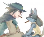 ambiguous_gender black_fur blue_fur canine chocolate duo fur hat human lucario male mammal nintendo plain_background pokémon red_eyes sir_aaron smile tan_fur video_games 余吉   Rating: Safe  Score: 7  User: DeltaFlame  Date: February 15, 2015