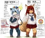 blue_hair brown_fur canine cat clothing feline female fox fur hair japanese_text koishi_chikasa long_hair mammal red_eyes red_hair school_uniform short_hair text translation_request   Rating: Safe  Score: 0  User: KemonoLover96  Date: May 24, 2015
