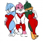 anthro babs_bunny buster_bunny clothed clothing crossdressing crossgender girly group plucky_duck simple_background tiny_toon_adventures warner_brothers white_background  Rating: Questionable Score: -2 User: Markice619 Date: January 27, 2016