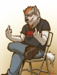 2011 anthro boots canine clothing digital_media_(artwork) eyewear footwear glasses hair male mammal meesh middle_finger orange_hair simple_background sitting slayer solo white_background wolf