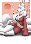 2014 anthro arm_support big_breasts blue_eyes breasts canine cayo cleavage clothed clothing female fox fur japanese_clothing kimono kiseru mammal multiple_tails necklace pipe smoke smoking solo white_fur  Rating: Questionable Score: 11 User: Blind_Guardian Date: June 29, 2015""