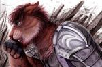 2017 angry anthro armor blood clothed clothing detailed_background faraden feline hi_res lion male mammal montreal open_mouth ratte solo tiger traditional_media_(artwork)