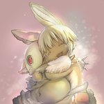 1:1 ambiguous_gender anthro baggy_clothing baggy_pants belly bottomwear brown_body brown_fur claws clothed clothing cub duo eyes_closed feral fluffy fluffy_ears fur hair hug inner_ear_fluff kemono lagomorph leporid long_ears made_in_abyss mammal mitty monotone_hair multicolored_body multicolored_fur nanachi narehate official_art open_mouth open_smile pants pink_background rabbit red_eyes simple_background smile standing topless tsukushi_akihito tuft two_tone_body two_tone_fur whiskers white_body white_fur white_hair young