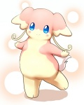 ambiguous_gender audino big_ears blue_eyes blush looking_at_viewer nintendo on_one_leg pokémon pokémon_(species) smile solo standing t070299 video_games