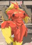 anthro avian big_breasts bird blaziken blush breasts female fur huge_breasts muscles muscular_female nintendo nipples nude pokémon pokémorph solo sweat translated video_games ymbk   Rating: Explicit  Score: 18  User: voldosbt  Date: June 29, 2014