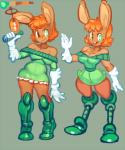 bellend boots breasts brown_eyes clothing digital_media_(artwork) female footwear green_eyes gun hair happy heterochromia lagomorph lappine mammal orange_hair rabbit ranged_weapon small_breasts smile solo weapon  Rating: Safe Score: 5 User: fap4life Date: May 20, 2015""