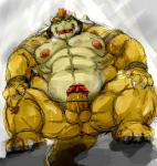 2014 anthro anus balls belly biceps big_balls big_muscles big_penis blush bowser butt claws collar erection hair horn humanoid_penis koopa kotobuki lizard male mario_bros muscles nintendo nipples nude open_mouth overweight panting pecs penis red_hair reptile scalie shell solo spikes sweat teeth tongue turtle vein video_games   Rating: Explicit  Score: 7  User: qase  Date: June 14, 2014