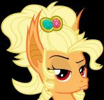 absurd_res alpha_channel alternate_species apple_jewel_(mlp) applejack_(mlp) bat_pony bedroom_eyes blonde_hair cutie_mark digital_media_(artwork) duckface ear_tuft earth_pony equine eyebrows eyelashes fangs female friendship_is_magic fur gem hair half-closed_eyes headshot_portrait hi_res horse hybrid jewelry long_hair looking_at_viewer magister39 mammal messy_hair my_little_pony orange_fur pony portrait raised_eyebrow red_eyes ringlets seductive simple_background smile solo transparent_background tuft vampire